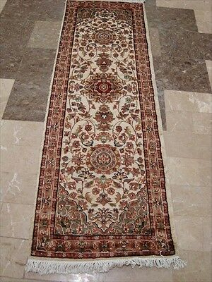 IVORY FLORAL MEDALLION HAND KNOTTED RUG RUNNER WOOL SILK CARPET 6x2 FB-2491