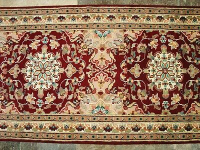 AWESOME RED FLOWRAL LOVE HAND KNOTTED RUNNER WOOL SILK CARPET 2.7x10.1 FB-1318