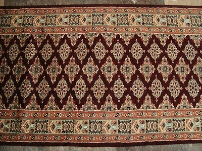 Dark Red Exclusive Jaldar Lovely Soft Runner Ivory Touch Hand Knotted 12.0X2.5