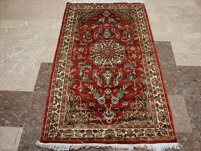 EXCLUSIVE KASHA MEDALLION FLOWERS HAND KNOTTED RUG WOOL SILK CARPET 5x3 FB-2277