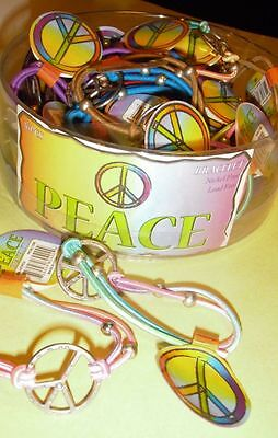 WHOLESALE LOT OF 36 PEACE SIGN BRACELETS hippie jewelry stretch 60s charm bead