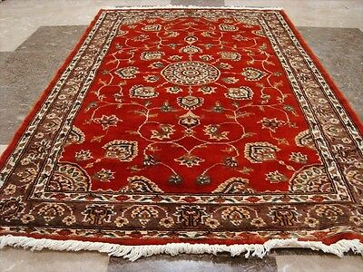 WOW BURNT ORANGE FLORAL MEDALION HAND KNOTTED RUG WOOL SILK CARPET 5x3 FB-2522