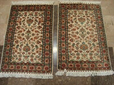 Exclusive Ivory Flower Hand Knotted Rug Pair Wool Silk Carpet 3X2 Fb-622-623