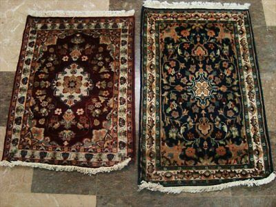 Red & Blue Flower Hand Knotted Rug Wool Silk Carpet 3X2 Exclsusive 1314-15