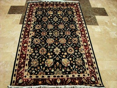 Black Modern Hand Knotted Fine Carpet 4X6 Real Art