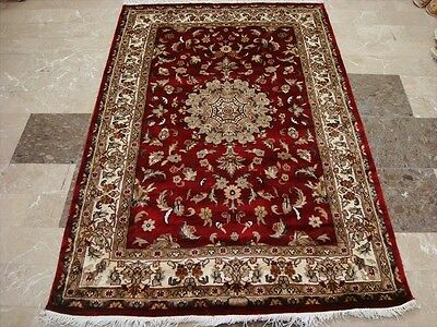 AWESOME WOW RED FLORAL MEDALLION HAND KNOTTED RUG WOOL SILK CARPET 6x4 FB-2271