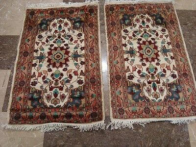 Exclusive Ivory Floral Pair Hand Knotted Rug Wool Silk Carpet 3X2 Fb-2369-2368