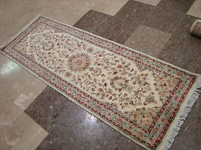 LOVE IVORY FLORAL MEDALLION HAND KNOTTED RUG RUNNER WOOL SILK CARPET 6x2 FB-2421