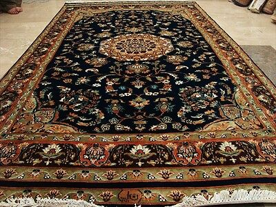 Exclusive Nave Blue & Olive Medallion Rare Hand Knotted Rug Carpet Silk Wool 9X5