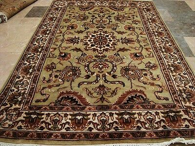 Rare Light Green Ivory Touch Fine Hand Knotted Rug Carpet Silk Wool New 6X4 Rare