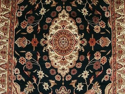 MID NIGHT BLACK HAND KNOTTED RUG WOOL SILK CARPET 6x4