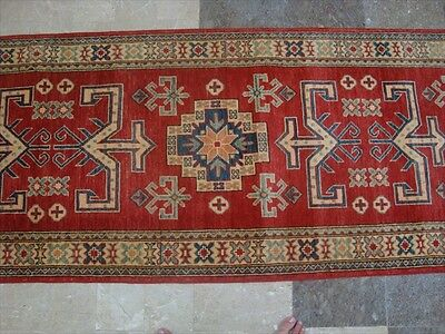 SUPER KAZAK VEGETABLE DYED GHAZNI WOOL HAND KNOTTED RUG CARPET RUNNER 9.10x2.10