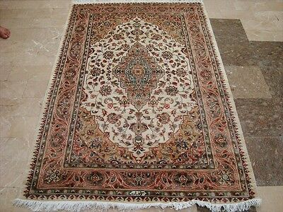 WOW SARAFIAAAN FLORAL MEDALLION HAND KNOTTED RUG WOOL SILK CARPET 6x4 FB-2400