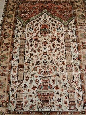 WOW VAAS MEHRAB FLORAL LOVE HAND KNOTTED RUG WOOL SILK CARPET 6x4 FB-2404