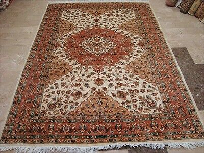 AWESOME IVORY ABSTRACT MEDALLION HAND KNOTTED RUG WOOL SILK CARPET 8x6 FB-2390