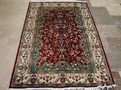 Love Red Medallion Lovely Hand Knotted Rug Wool Silk Carpet 6X4
