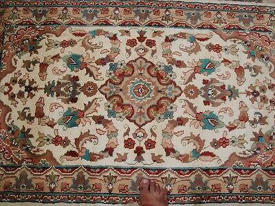 SARAFIA MEDALLION FLOWERS ORIENT HAND KNOTTED RUG WOOL SILK CARPET 5x3 FB-2426