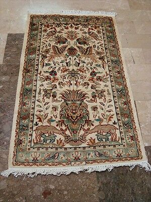 LOV TREE OF LIFE PEACE DEER BIRD HAND KNOTTED RUG WOOL SILK CARPET 4x2.6 FB-2437