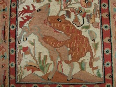Hunting Jungle Hand Knotted Rug Wool Silk Carpet 4X2.6