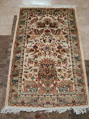 TREE OF LIFE PEACE DEER BIRD HAND KNOTTED RUG WOOL SILK CARPET 4x2.6 FB-2441