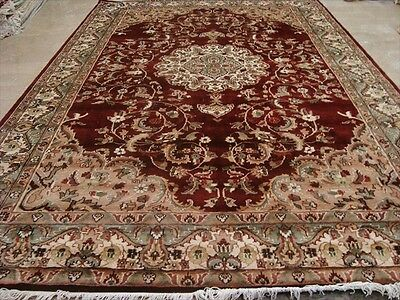 Mid Night Red Medallion Flowral Kasha Hand Knotted Rug Wool Silk Carpet 9X6 Rare