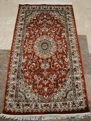 BURNT ORANGE RUST FLORAL HAND KNOTTED RUG WOOL SILK CARPET 5x3 RARE FB-2183