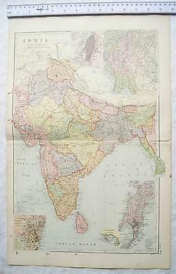 Vintage: Bacons engraved map Sheet 34 India