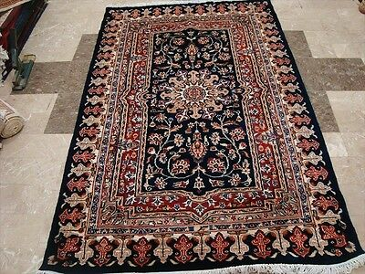MID NIGHT BLUE LOVE FLOWERS HAND KNOTTED RUG WOOL SILK CARPET 6x4 FB-2329
