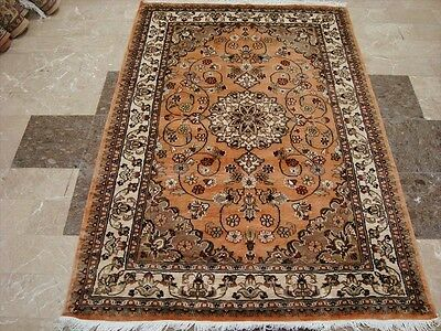LOVELY FLORAL MEDALLION HAND KNOTTED RUG WOOL SILK CARPET 6x4 FB-2255 ORIENTAL