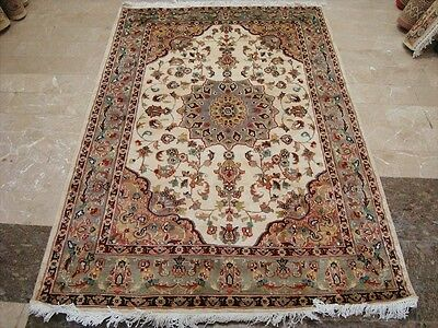 ROYAL CHIRAG FLORAL MEDALLION HAND KNOTTED RUG WOOL SILK CARPET 6x4 FB-2332