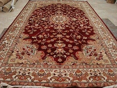 Exclusive Love Red Flowral Medallion Hand Knotted Rug Wool Silk Carpet 9X6 Rare