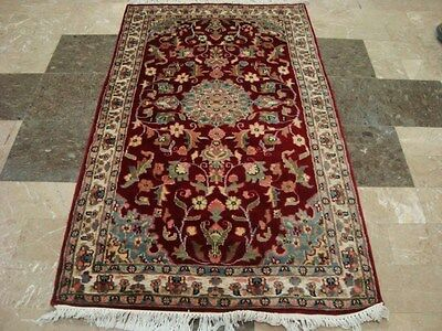 EXCLUSIVE RUBY RED IVORY TOUCH FLOWERS HAND KNOTTED RUG WOOL SILK CARPET 5x3