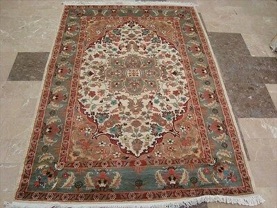 IVORY MEDALLION HAND KNOTTED RUG WOOL SILK CARPET EXCLUSIVE 6x4 RARE FB-1638
