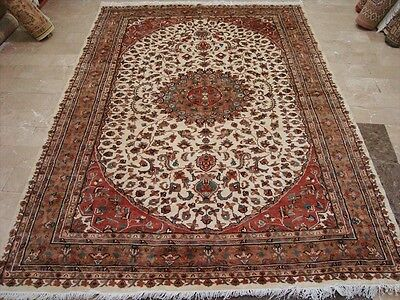 AWESOME IVORY KASHA MEDALLION HAND KNOTTED RUG WOOL SILK CARPET 8x6 FB-2389