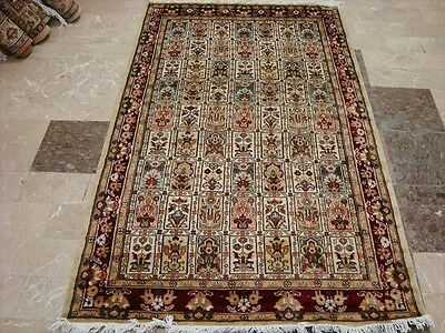 EXCLUSIVE BAKHTIARI FLORAL BLOCKS HAND KNOTTED RUG WOOL SILK CARPET 6x4 FB-2246