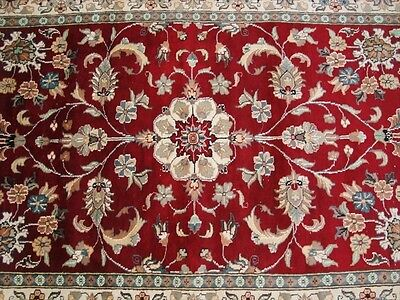 AWESOME RED LOVE MEDALLION FLOWERS HAND KNOTTED RUG WOOL SILK CARPET 6x4 FB-2239