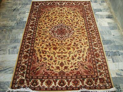 Cream Flowral Hot Hand Knotted Rug Wool Silk Carpet 6X4  Fb-1232