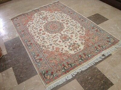 MUTED WOW IVORY MEDALLION FLOWRAL HAND KNOTTED RUG WOOL SILK CARPET 6x4 RARE