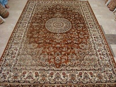 LOVE BURNT ORANGE RUST FLORAL HAND KNOTTED RUG WOOL SILK CARPET 9x6 RARE FB-2292