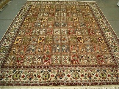 RARE BAKHTIARI PESTAL FLOWER ALL OVER HAND KNOTTED RUG CARPET SILK WOOL 10.7x8.3