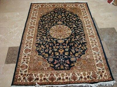 Exclusive Mid Night Blue Medallion Lovely Hand Knotted Rug Wool Silk Carpet 6X4