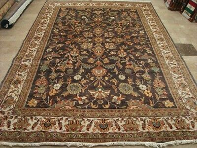 RARE LIGHT BROWN HAND KNOTTED RUG WOOL SILK CARPET 10x7 fb-4805