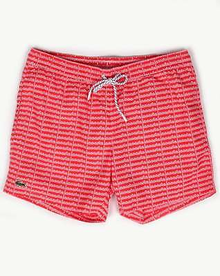 b45d46aa66 Lacoste Sport Linear Logo Swim Shorts in Grenadine Red - beach swimmers  holiday