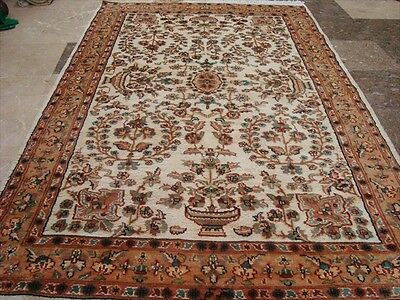 WOW ABRASK IVORY MEDALLION HAND KNOTTED RUG WOOL SILK CARPET EXCLUSIVE 6x4 RARE