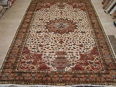 WOW VAAS FLORAL MEDALLION HAND KNOTTED RUG WOOL SILK CARPET 9x6 FB-2377