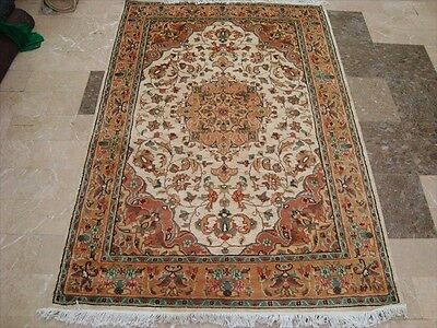 Wow Exclusive Flowers Rare Hand Knotted Rug Wool Silk Carpet 6X4 Fb-1718