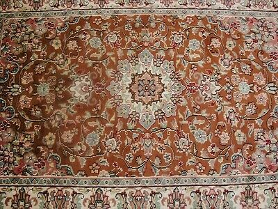Exotic Rust Orang Floral Medallion Hand Knotted Rug Wool Silk Carpet 6X4 Fb-2304