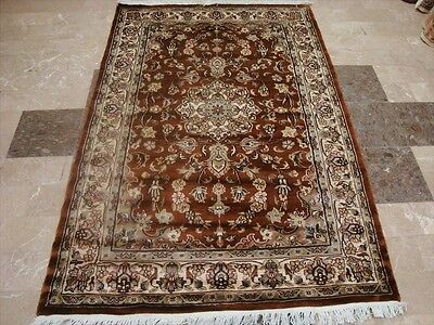 Wow Rust Orange Floral Medallion Hand Knotted Rug Wool Silk Carpet 6X4 Fb-2305