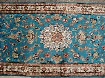 RARE SEA BLUE FLORAL SOFT RUNNER HALL WAY HAND KNOTTED RUG 10.5x2.6 CARPET