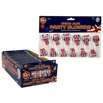 Pack Of 12 Union Jack Medallion Blow Outs - Party Blowing